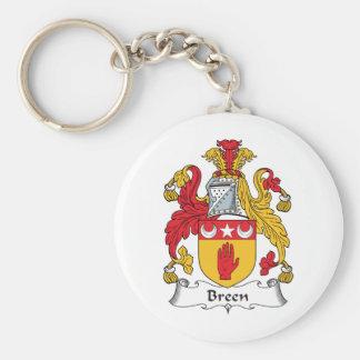 Escudo de la familia de Breen Llavero Redondo Tipo Pin
