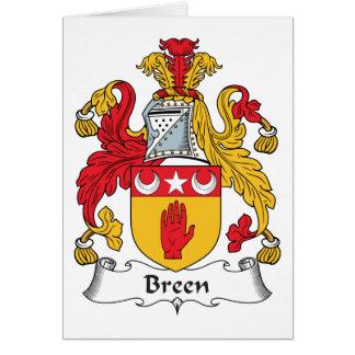 Escudo de la familia de Breen Tarjeta De Felicitación