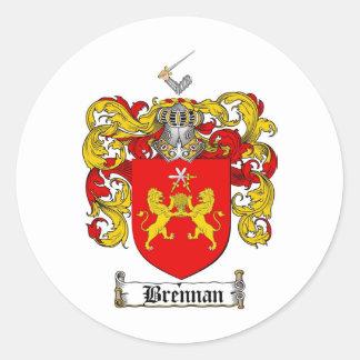 ESCUDO DE LA FAMILIA DE BRENNAN - ESCUDO DE ARMAS PEGATINA REDONDA
