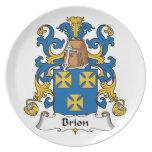 Escudo de la familia de Brión Plato Para Fiesta