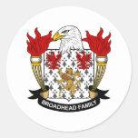 Escudo de la familia de Broadhead Pegatinas Redondas