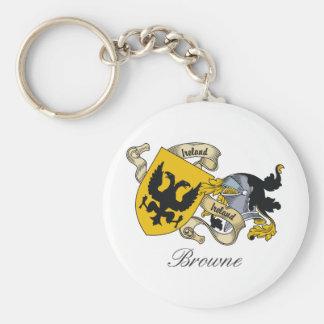 Escudo de la familia de Browne Llavero Redondo Tipo Pin
