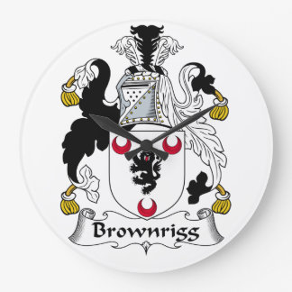 Escudo de la familia de Brownrigg Reloj Redondo Grande