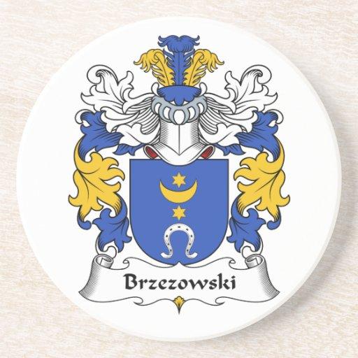 Escudo de la familia de Brzezowski Posavasos Para Bebidas