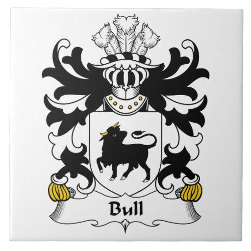 Escudo de la familia de Bull Azulejo Cuadrado Grande