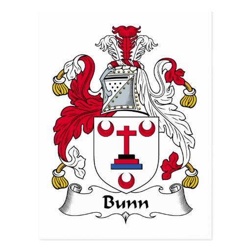 Escudo de la familia de Bunn Tarjeta Postal