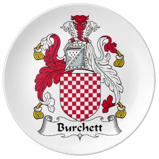 Escudo de la familia de Burchett Plato De Cerámica