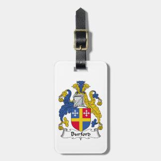 Escudo de la familia de Burford Etiquetas Maleta