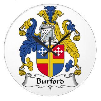 Escudo de la familia de Burford Relojes De Pared
