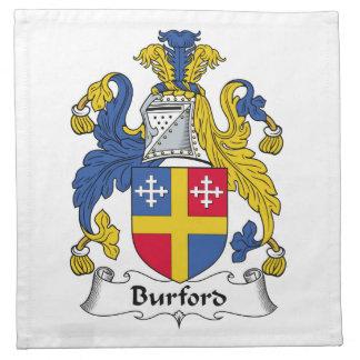 Escudo de la familia de Burford Servilletas Imprimidas