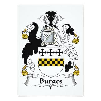 Escudo de la familia de Burges Invitación 12,7 X 17,8 Cm