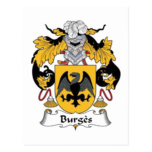 Escudo de la familia de Burges Tarjetas Postales
