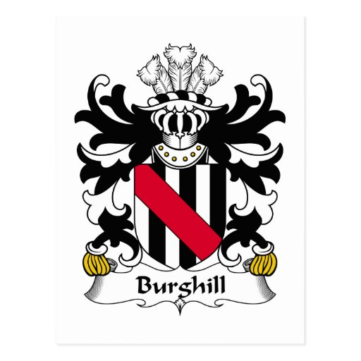 Escudo de la familia de Burghill Tarjetas Postales