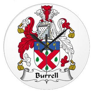Escudo de la familia de Burrell Reloj Redondo Grande