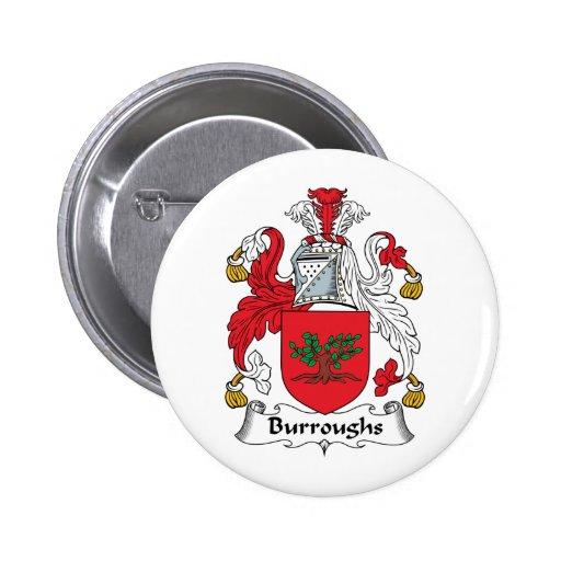 Escudo de la familia de Burroughs Pin Redondo 5 Cm