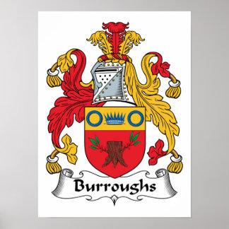 Escudo de la familia de Burroughs Posters