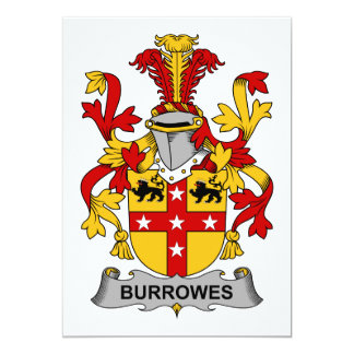 Escudo de la familia de Burrowes Invitación 12,7 X 17,8 Cm