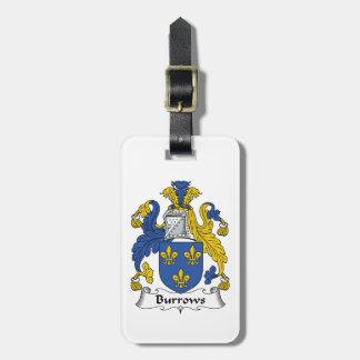Escudo de la familia de Burrows Etiquetas Para Maletas