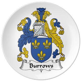 Escudo de la familia de Burrows Plato De Cerámica