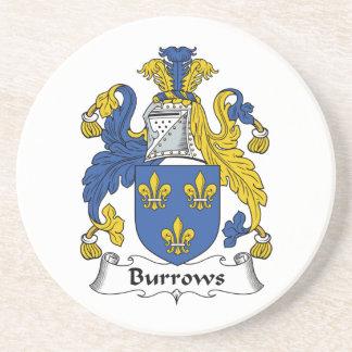 Escudo de la familia de Burrows Posavasos Cerveza