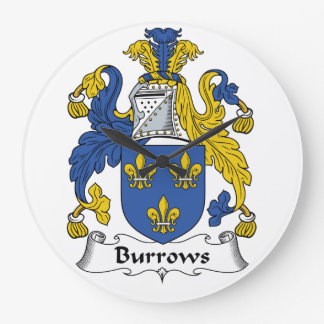 Escudo de la familia de Burrows Relojes De Pared