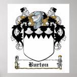 Escudo de la familia de Burton Posters