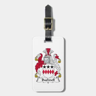 Escudo de la familia de Bushnell Etiquetas Maleta