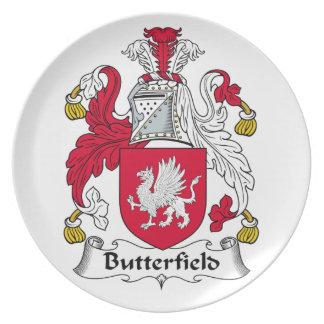 Escudo de la familia de Butterfield Platos Para Fiestas
