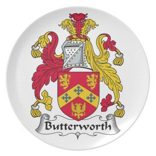 Escudo de la familia de Butterworth Platos De Comidas