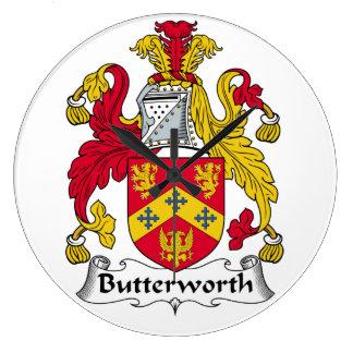Escudo de la familia de Butterworth Reloj Redondo Grande
