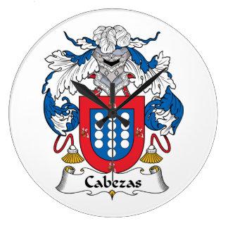 Escudo de la familia de Cabezas Reloj Redondo Grande