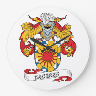 Escudo de la familia de Caceres Reloj De Pared