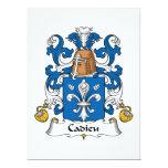 Escudo de la familia de Cadieu Invitación 16,5 X 22,2 Cm