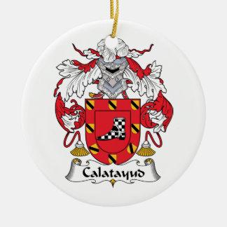 Escudo de la familia de Calatayud Adorno Navideño Redondo De Cerámica