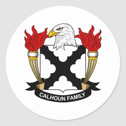 Escudo de la familia de Calhoun Etiquetas Redondas