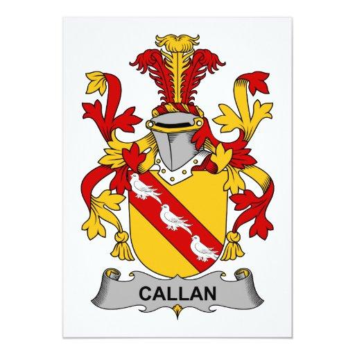 """Escudo de la familia de Callan Invitación 5"""" X 7"""""""