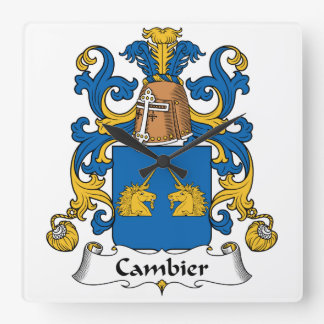 Escudo de la familia de Cambier Reloj Cuadrado