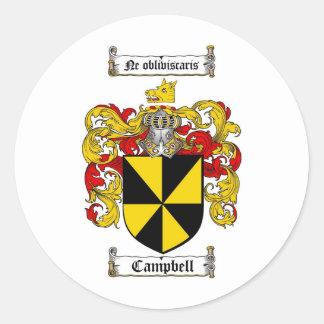 ESCUDO DE LA FAMILIA DE CAMPBELL - ESCUDO DE ARMAS ETIQUETA REDONDA
