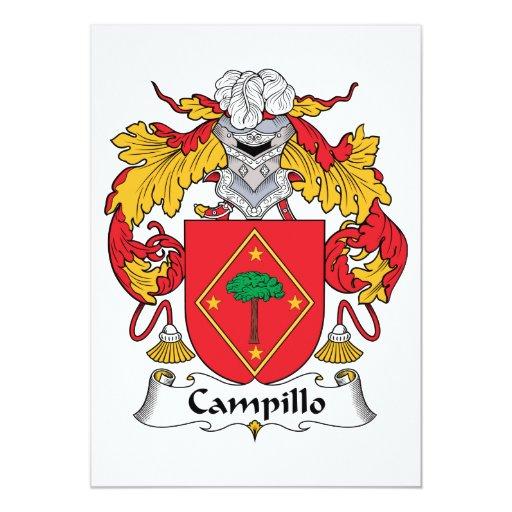 Escudo de la familia de Campillo Invitación 12,7 X 17,8 Cm