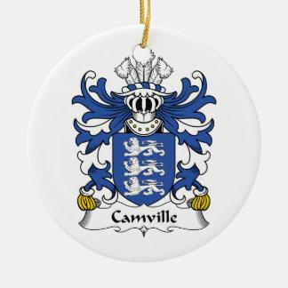 Escudo de la familia de Camville Adorno Redondo De Cerámica