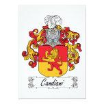 Escudo de la familia de Candiani Invitación 12,7 X 17,8 Cm