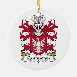 Escudo de la familia de Cantington Adorno Navideño Redondo De Cerámica