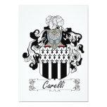 Escudo de la familia de Carelli Invitación 12,7 X 17,8 Cm
