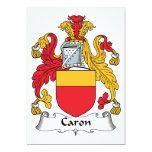 Escudo de la familia de Caron Invitación 12,7 X 17,8 Cm