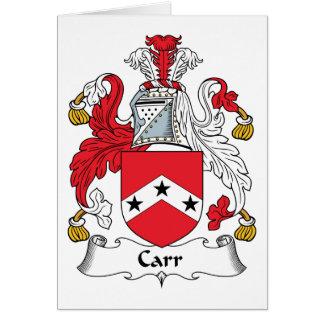 Escudo de la familia de Carr Tarjeta De Felicitación