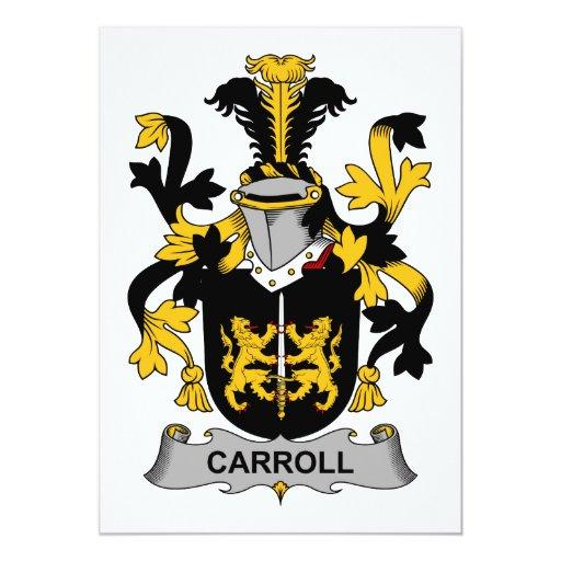 """Escudo de la familia de Carroll Invitación 5"""" X 7"""""""