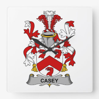 Escudo de la familia de Casey Reloj Cuadrado