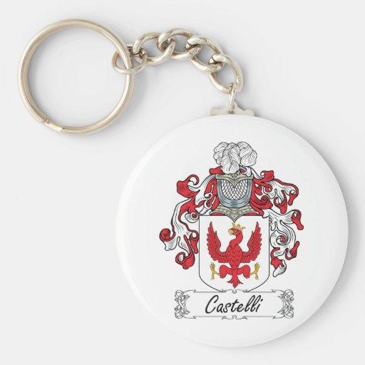 Escudo de la familia de Castelli Llavero Redondo Tipo Pin
