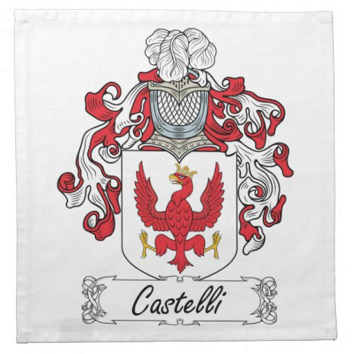 Escudo de la familia de Castelli Servilletas Imprimidas
