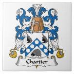 Escudo de la familia de Chartier Azulejo Cerámica